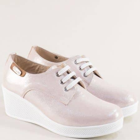 Дамски обувки на платформа от естествена кожа в розов цвят 13014810srz1