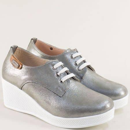 Сребърни дамски обувки от естествена кожа и сатен 13014810ssv