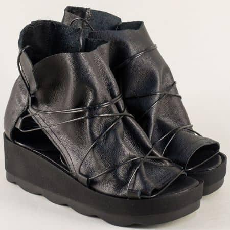 Летни дамски боти от естествена кожа в черен цвят 130318ch