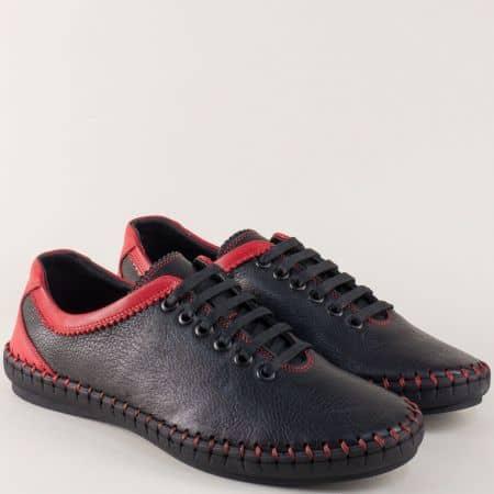 Шити мъжки обувки с връзки от черна естествена кожа 1303ch