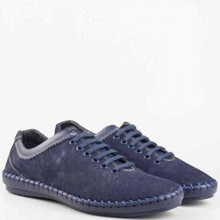 Мъжки ежедневни шити обувки от естествен набук в син цвят 1303s
