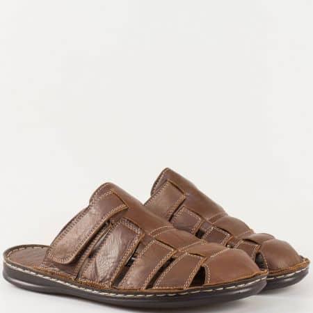Кафяви мъжки чехли с кожена стелка на равно ходило 1308k