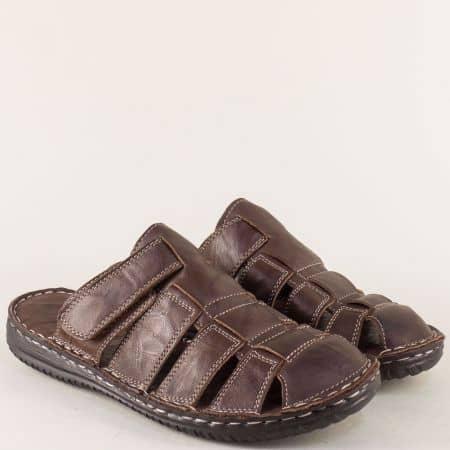 Тъмно кафяви мъжки чехли със затворени пръсти и лепка 1308kk