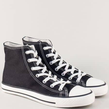 Високи мъжки кецове на равно ходило в черен цвят 13091ch