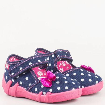 Детски обувки с лепка, панделка и кожена мемори стелка от дишащи, антибактериални материали на водещ български производител 13105st
