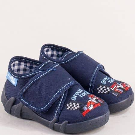 Сини детски пантофи с удобна стелка от естествена кожа 131103ts