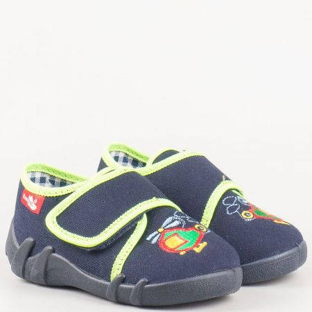 Детски обувки, тип пантофки с бродерия в син цвят  13110s