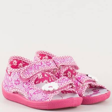 Цикламени детски сандали с анатомична стелка и лепки- български производител 13112ck