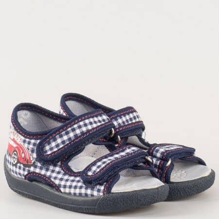 Антибактериални детски сандали в синьо и бяло с анатомична стелка- български производител 13112s