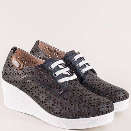 Черни дамски обувки на платформа с кожена стелка 13114810ch