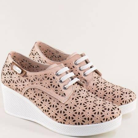 Розови дамски обувки на лека платформа от естествена кожа 13114810rz