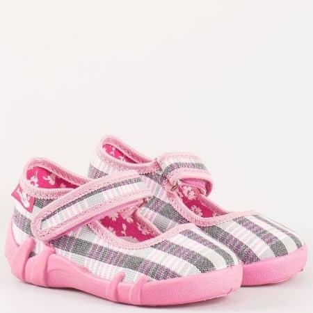 Розови детски пантофи с лепка на български производител 13139ksv