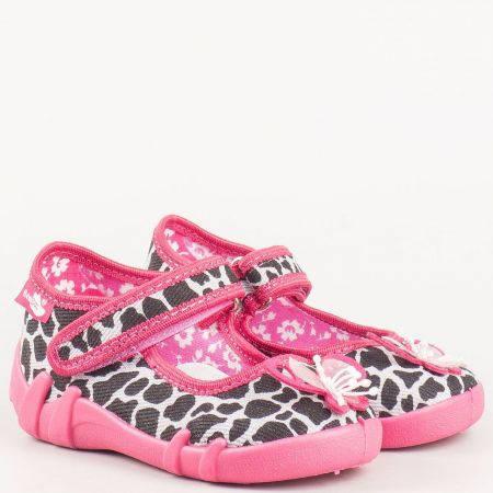 Пъстри детски обувки тип пантофки с лепенка 13139ps