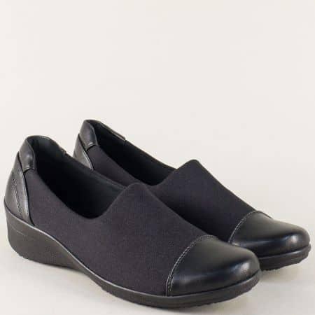 Черни дамски обувки на удобна платформа 13209ch