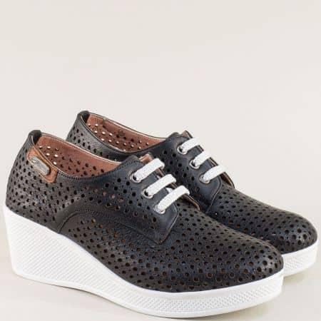 Черни дамски обувки с връзки на бяла платформа 13214810ch