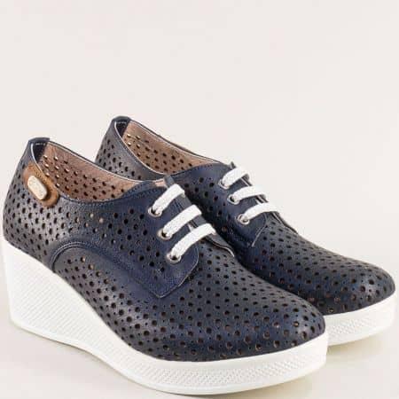 Дамски обувки от естествена кожа в син цвят на платформа 13214810ts
