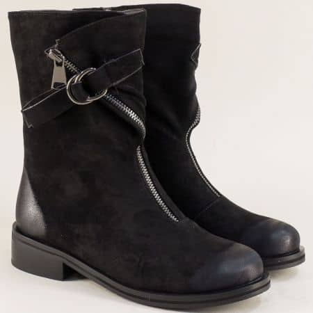 Дамски боти Елиза в черен цвят на нисък ток 1323216nch