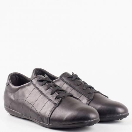 Равни дамски обувки с връзки от естествена кожа в черен цвят 1323406ch