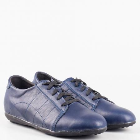 Сини равни дамски обувки с връзки от естествена кожа на доказан български производител 1323406s