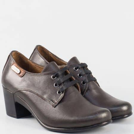 Ежедневни дамски обувки с връзки на среден ток от кафява естествена кожа 133124kk