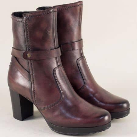 Кожени дамски обувки в цвят бордо на висок ток  1331300bd