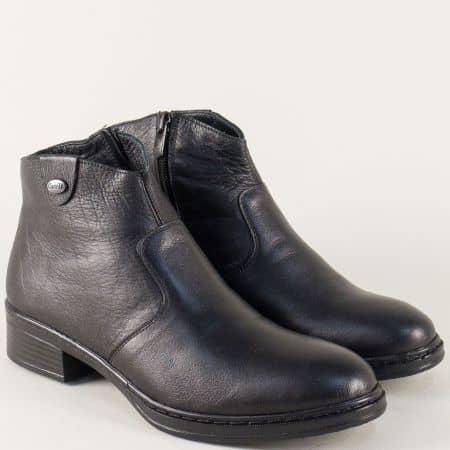 Шити дамски боти от естествена кожа в черен цвят 13332ch