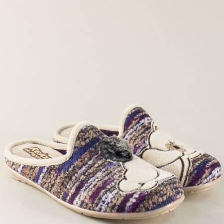 Бежови дамски чехли с пъстър принт и декорация- RELAX  1335-40bj