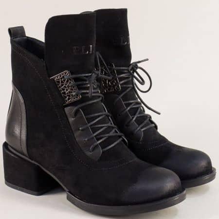 Дамски боти в черен цвят на среден ток- ELIZA 13357618vch