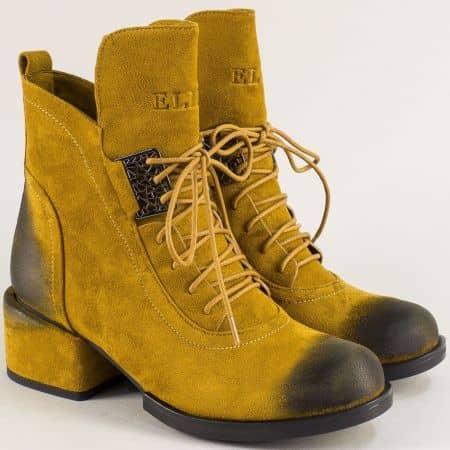 Жълти дамски боти на среден ток с цип и връзки- ELIZA 13357618vj