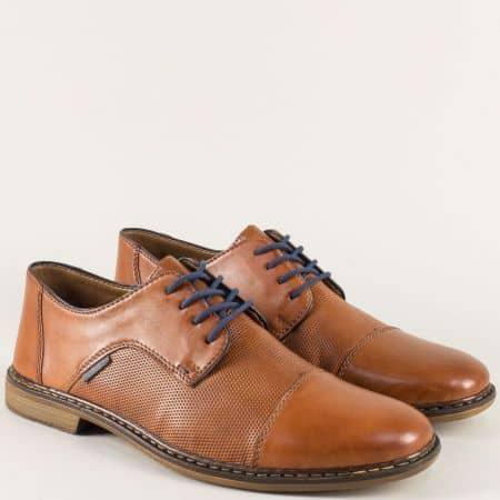 Шити мъжки обувки от кафява естествена кожа- Rieker 13409k