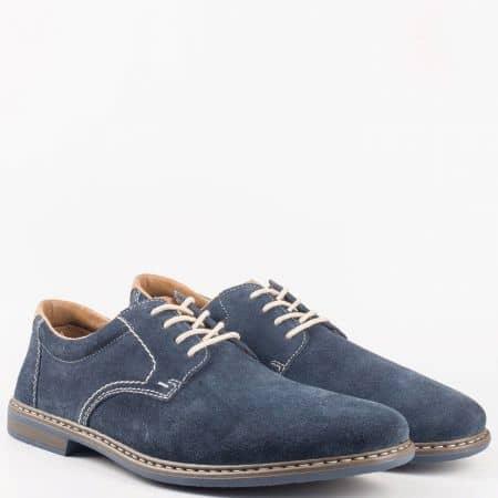 Мъжки комфортни обувки от висококачествен естествен велур с кожена стелка на швейцарския производител Rieker в син цвят 13410vs