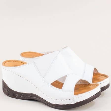 Дамски чехли на платформа от бяла естествена кожа 134322b