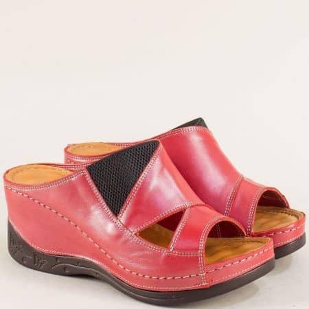 Червени дамски чехли с ластик от естествена кожа  134322chv