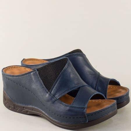 Тъмно сини дамски чехли с прорези от естествена кожа 134322s