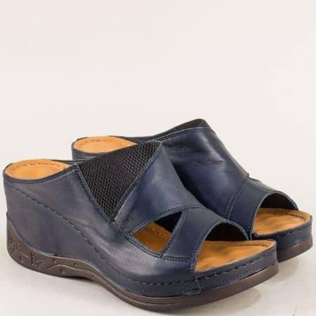 Анатомични дамски чехли на платформа в тъмно синьо 134322ts