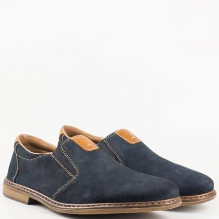 Мъжки комфортни обувки за всеки ден на Antistress ходило изработени от висококачествен естествен велур на Rieker в син цвят 13461vs