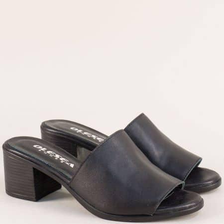 Дамски чехли на среден ток от естествена кожа в черно 1347296ch