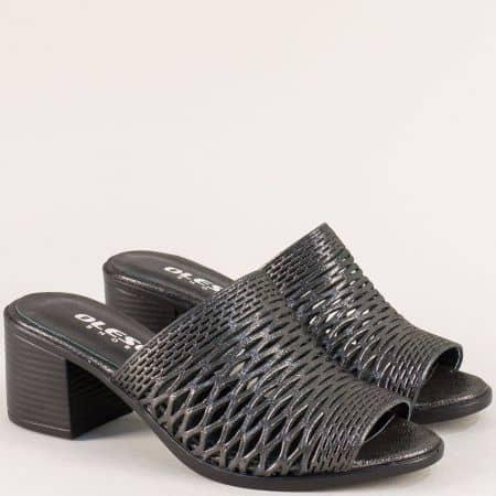 Бронзови дамски чехли с прорези и кожена стелка 1347296dsbrz