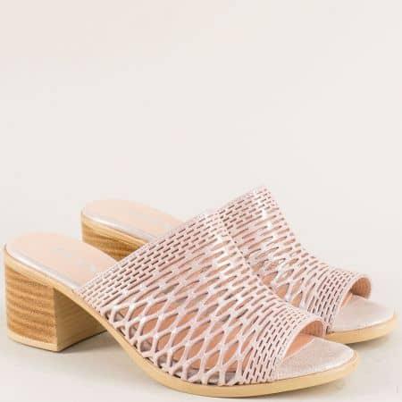 Розови дамски чехли от естествена кожа и сатен 1347296dsrz