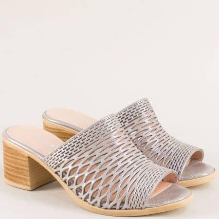 Сребърни дамски чехли от сатен и естествена кожа 1347296dssv