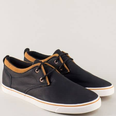 Мъжки спортни обувки с връзки в черно и кафяво 135053ch