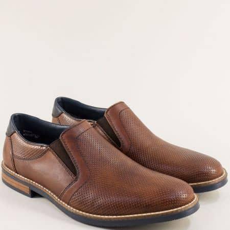 Тъмно кафяви мъжки обувки с ластик и перфорация- RIEKER 13571kk