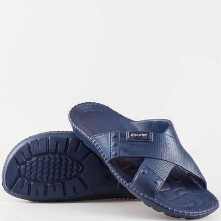 Леки и удобни мъжки чехли с масажиращо ходило- Athletic в син цвят 1366s