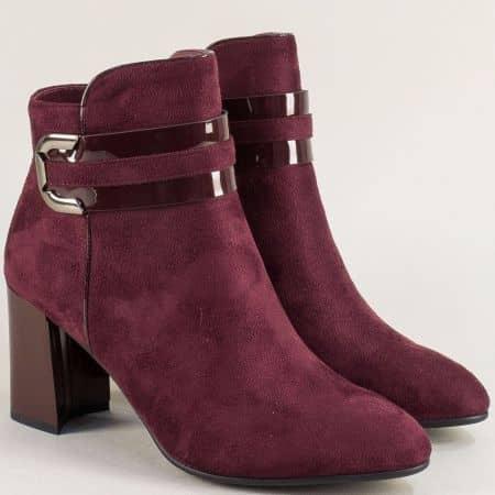 Дамски боти в цвят бордо на висок ток- ELIZA 13691422nbd