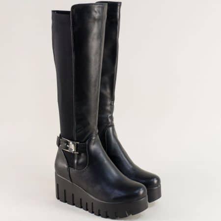 Черни дамски ботуши на платформа с луксозно коланче 137680ch