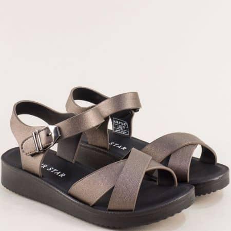 Бронзови дамски сандали на равно ходило- MAT STAR 138077brz