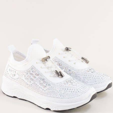 Бели дамски маратонки с ластични връзки- MAT STAR 138142b