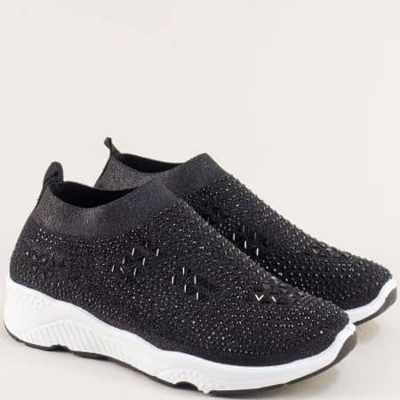 Черни дамски маратонки с камъчета- MAT STAR 138143ch