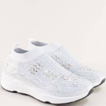 Сребристи дамски маратонки с камъчета- MAT STAR 138143sr