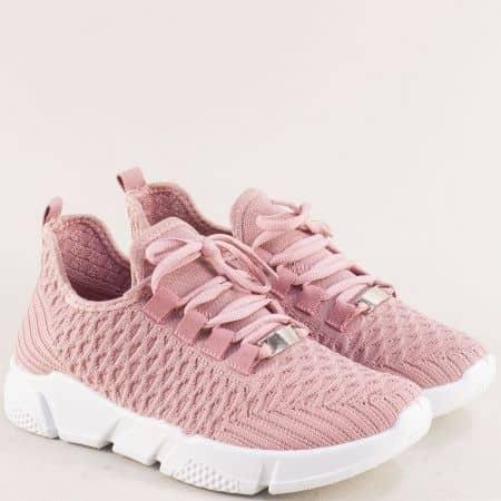 Дамски розови маратонки от текстил на леко ходило 138144rz